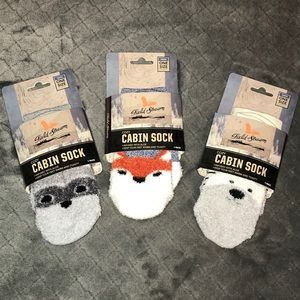 3 pack Plush Animal Ankle Socks - Raccoon Fox Bear